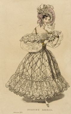 Evening dress, fashion plate, hand-colored engraving on paper, published London, December 1832.