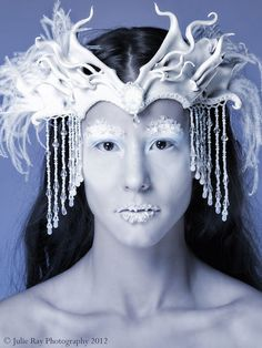 Snow Queen Leather Headdress with Beaded Jewels and by beadmask, $275.00