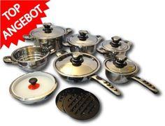 16 tlg Induktion Edelstahl Topfset mit Deckel Kochtopf Töpfe Pfanne Kochtöpfe: Amazon.de: Küche & Haushalt
