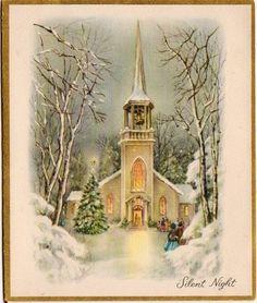 Snowy church Christmas card