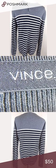 "Vince Men's Striped Henley Long Sleeve Shirt Soft 100% cotton long sleeve Henley shirt by vince. Thicker ribbed knit with gray, white, and Navy blue stripes. Size medium, 38"" chest and 26"" length. Gently used in great condition. No trades. Vince Shirts Tees - Long Sleeve"