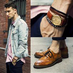 Topman Denim Jacket, Marc By Marc Jacobs Shirt, H&M Chinos, Mr. B's Wingtips, Casio Watch, Tevin Vincent Bracelet