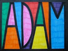 Stained Glass Name Designs (sharpie marker on wax paper works best but you can do this on any paper and hang on a window)