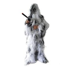 BESTHUNTINER Ghillie Suit, Snowfield Camouflage Clothing, Army Sniper Military Clothes and Trousers for Jungle Hunting, Shooting, Airsoft, Wildlife Photography or Halloween, 5 Pieces, XL/XXL #hunting #hunting camouflage