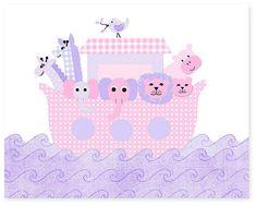 Noah's Ark Nursery Art Pink and Purple by SweetPeaNurseryArt