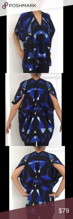 Blue And Black Print V-neck Drapey Top NWOT, this top has a very unique cutting, the print is inspired by the Empire state building, super artsy! 93% silk 7% elasthanne Zero + Maria Cornejo Tops Blouses