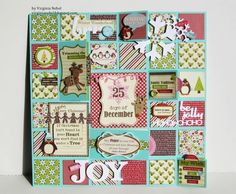 Christmas Peek-a-boo Mosaic with interactive squares to lift or flip. DIY by Virginia at Jillibean Soup Week for Scor-pal Christmas Themes, Christmas Crafts, Christmas Layout, Christmas Journal, Christmas Albums, Holiday Fun, Holiday Gifts, Advent Calenders, Paper Crafts
