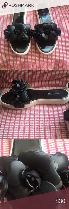 black floral jellies matte black - floral design - slide on - platform - shoe- worn once Nine West Shoes Slippers