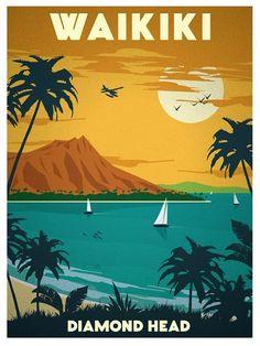 Vintage Travel Poster - Waikiki - Diamons Head - Hawaii.