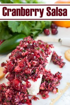 A beautiful and easy holiday appetizer for Christmas. This cranberry salsa with jalapenos and cream cheese is a quick, festive and fresh salsa recipe perfect for fall and winter. Takes only 5 minutes to make! Great make ahead recipe for a potluck or party snack. #holidays #christmas #dips #salsa #cranberry #appetizers #snacks Elegant Appetizers, Yummy Appetizers, Appetizer Recipes, Dip Recipes, Thanksgiving Appetizers, Christmas Appetizers, Thanksgiving Recipes, Easy Holiday Recipes, Christmas Recipes