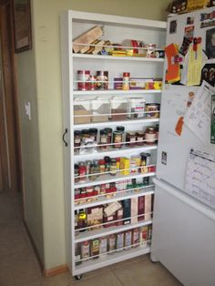 Space saver kitchen pantry shelf Perfect for small kitchens. Great Space saver Plus BEst way to find those hard to reach spices that would be in regular cabinets. I Love this idea...Bravo to the creator of this space saver!