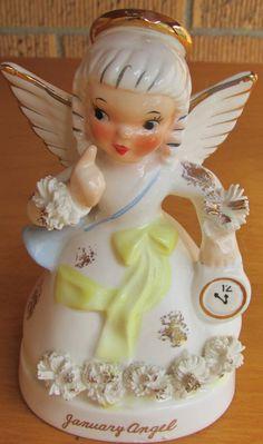 Vintage January Angel Napco  Ceramic Japan A1361 by marll24