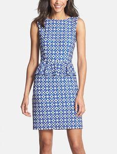 Pretty print peplum dress