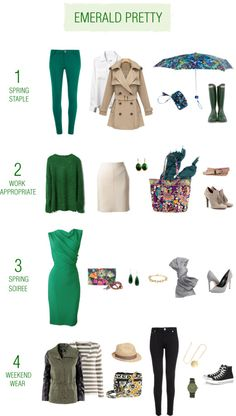 Pair Emerald, the 2013 Pantone Color of the Year, with our quartet of Spring colors to be on-trend this year.