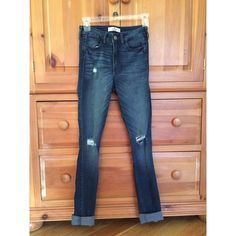 Hollister High Rise Super-Skinny Jeans 2 for $18 These are distressed, high rise super-skinny jeans from Hollister! They are a dark-medium wash and look cute with the ankles cuffed! The colors are true to the pictures, no filters have been used. Jeans are 2 for $18! Message me which jeans you would like, and I will create another listing for you! Hollister Jeans Skinny
