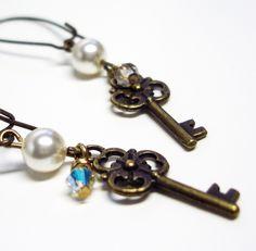 Antiqued Key White Cream Pearl Gold Key Charm Earrings. $15.00, via Etsy.