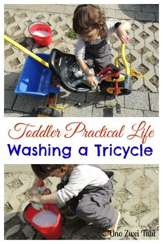 Montessori inspired practical life activity for toddlers: washing a tricycle. So fun and perfect for spring and summer.