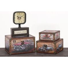 Enjoy these decorative boxes with Route 66 and vintage car themes to give your home a classic touch. These boxes are accented with faux brown leather and a bronze-colored front closure for a historic