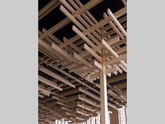 ::ARCHITECTURE:: Column to beam detail, inspired by traditional Japanese construction. Project: Sakenohana, London, UK        Architect: Kengo Kuma