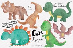 Dinisaurus Watercolour Clipart by Tanya Kart on Creative Market
