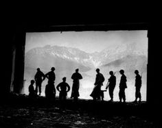 American soldiers enjoy the view from Hitler's mountain residence, Berchtesgaden, 1945. Getty