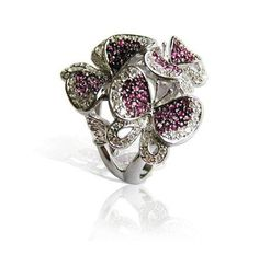 Floret butterfly trio #ring by Fei Liu
