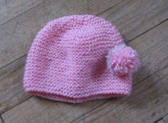 Bonnet en laine rose avec pompon pour fille de 2 à 4 ans : Mode filles par kikoune09