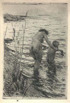 "Anders Zorn (Swedish, 1860-1920), ""A Premiere,"" 1890. etching Dimensions: 23.5 x…"