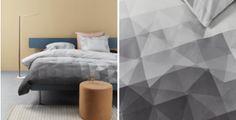 De nieuwe collectie van Auping vol geometrische dessins. Nog meer slaapkamerinspiratie en ideeën voor het inrichten van je slaapkamer op mijn interieurblog http://www.interieurinspiratie.nl/