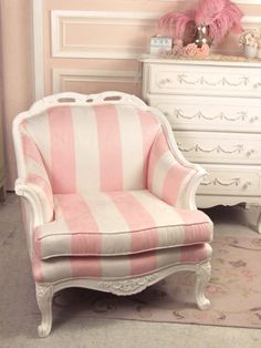 Shabby Sweet Pink and White Striped Chair Pink Furniture, Painted Furniture, Bedroom Furniture, Striped Chair, Shabby Chic Garden, Pink Houses, Little Girl Rooms, Cool Ideas, Shabby Vintage