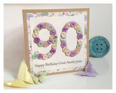 Handmade Button Number Card - Birthday Card - Children - Mum - Dad - Sister - Friend - Auntie - Uncle  on Etsy, £4.00