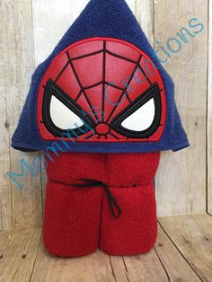 """Stack Stack Web Hero Applique Hooded Bath, Beach Towel Cover Up 30"""" x 54""""  Personalization Available by MommysCraftCreations on Etsy"""