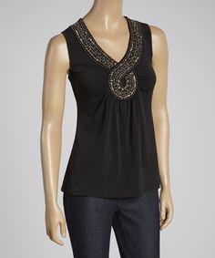 Look at this #zulilyfind! Black & Gold Embellished Top #zulilyfinds