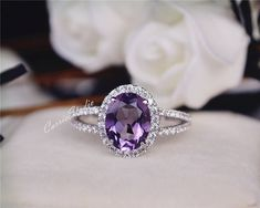 Gorgeous and classic oval design Amethyst ring with 925 sterling silver, perfect as engagement/wedding ring, birthday or anniversary gift, etc.