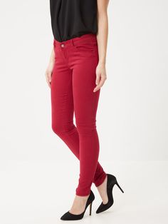 SLIM FIT TROUSERS, Beet Red