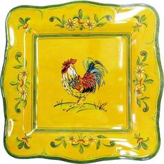 Gallina Melamine Outdoor Square Dinnerware Set-Outdoor Melamine Dinnerware-Home and Patio Decor Center Rooster Plates, Rooster Kitchen, Rooster Decor, Outdoor Dinnerware, Melamine Dinnerware, Dinner Plate Sets, Dinner Plates, Dinner Ware, Square Dinnerware Set