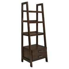 Simpli Home Sawhorse Ladder Shelf with Storage Bookcase - Medium Saddle Brown