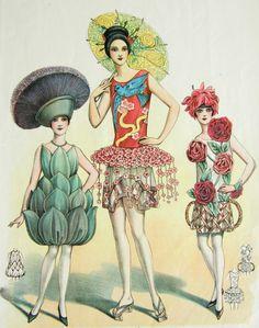 Vintage Hand Coloured Print - 1920's art deco costumes
