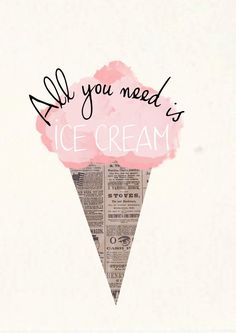"This ""all you need is ice cream"" graphic perfectly mixes a playful graphic with hand done lettering! Lettering, Typography, Deco Cinema, Grafik Design, Cute Quotes, Cute Summer Quotes, Summer Time Quotes, Cute Sayings, Summer Quotes Summertime"