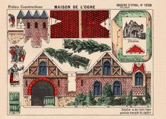 Vintage paper craft blog- old, printable patterns for dioramas, paper houses, paper dolls, etc.   (could be used for glitter houses)