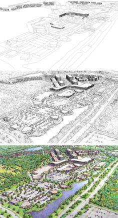 Northville, MI.  SmithgroupJJR.  Drawing Process.  Wireframe, Inked drawing, Color.  Rendering by Bondy Studio.