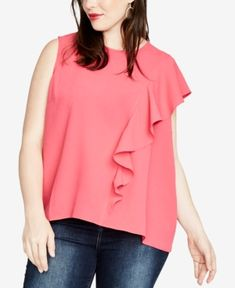 Rachel Rachel Roy Trendy Plus Size Ruffled Top, Created for Macy's - Pink Ruffle Top, Ruffle Blouse, Pink Carnations, Rachel Roy, Trendy Plus Size, Plus Size Outfits, Shopping, Clothes, Tops