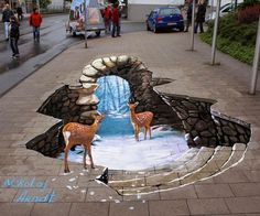 This street art in a indicater of form because 3d art is often done in streets or abandonned roads or parking lots.