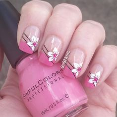 Nails design summer flowers french tips 50 Super ideas French Manicure Nail Designs, Valentine's Day Nail Designs, French Pedicure, Gel Nails French, Manicure E Pedicure, Nails Design, French Manicures, Manicure Ideas, Summer French Nails