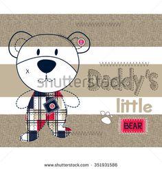 cute teddy bear boy on striped background, T-shirt design vector illustration - stock vector