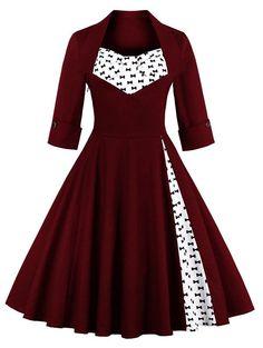 Bowknot Swing Dress Vintage Prom Dresses - WINE RED 4XL