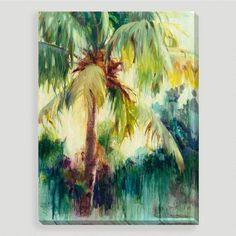 """Capturing a lush palm, Allyson Krowtiz creates a stunning tropical scene in her painting titled """"Island Palm."""" Printed using state-of-the-art technology, this remarkable gallery-wrapped reproduction resembles an original work of art, as if commissioned just for you. Framed and ready to hang, it's an effortless and affordable way to update a room."""