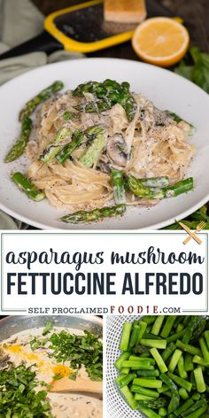 Fettuccine Alfredo with blanched fresh asparagus, sautéed mushrooms, perfectly cooked pasta, and a lemon garlic parmesan cream sauce for an amazing dinner. This spring pasta recipe is loaded with vibrant vegetables and the most amazing flavor. Recipes Using Pasta, Yummy Pasta Recipes, Chicken Pasta Recipes, Spaghetti Recipes, Delicious Dinner Recipes, Chicken Lasagna, Healthy Recipes, Good Meals To Cook, How To Cook Pasta