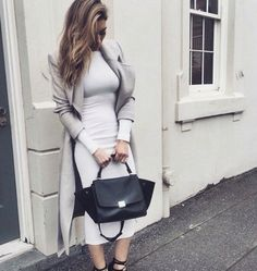 Light neutral outfit- white midi dress, grey waterfall coat, and black shoes and purse. ‣@sharifaholivia ‣
