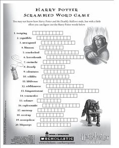 Harry Potter Scrambled Word Puzzle